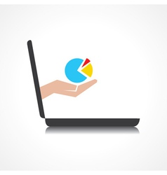 hand holding business graph comes from laptop vector image