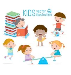 Happy cartoon kids playing children egucation vector