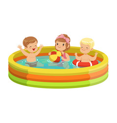 Happy kids having fun in inflatable swimming pool vector