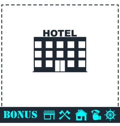 Hotel icon flat vector