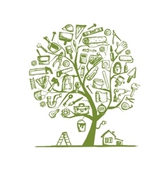 House repair concept tree for your design vector