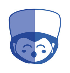 Line kawaii specialist man head with medical hat vector