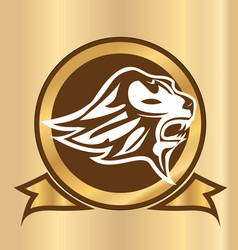 lion head emblem isolated logo vector image