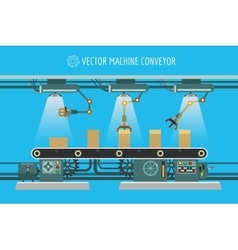 Machinery industrial factory conveyor belt vector image