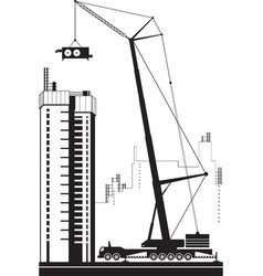 Mobile crane lifting air conditioning unit vector
