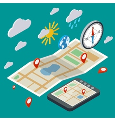 Mobile navigation isometric concept vector image