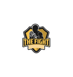 muay thai boxing badge logo design inspiration vector image