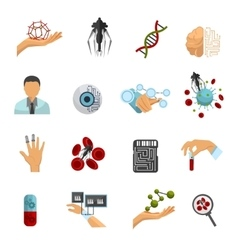Nanotechnology Colored Icon Set vector image