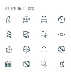 network icons set collection of research exit vector image