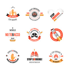 no smoking isolated icons tobacco product harm vector image