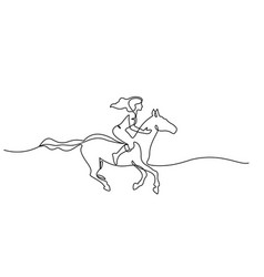 One line drawing woman riding a horse vector