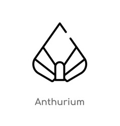 Outline anthurium icon isolated black simple line vector