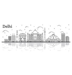 outline delhi india city skyline with historic vector image