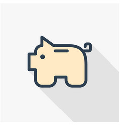 piggy bank finance money save thin line flat vector image