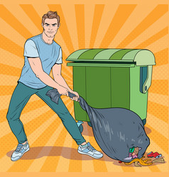 Pop art young man holding trash bag vector