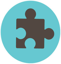 Puzzle icon label vector image