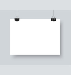 Realistic white paper a4 horizontal mockup vector