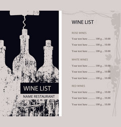 Restaurant wine list with bottles and corkscrew vector