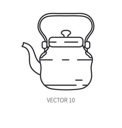 retro travel copper teapot kettle line vector image