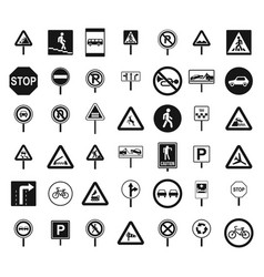 Road sings icon set simple style vector