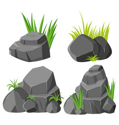 Rocks and grasses on white background vector