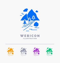 rocks tree hill mountain nature 5 color glyph web vector image