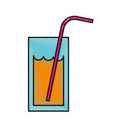 Scribble orange glass juice vector