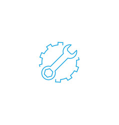 service tools flat icon cogwheel with wrench vector image