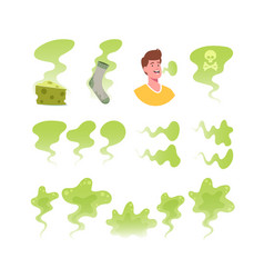 set icons bad smell theme green toxic clouds vector image