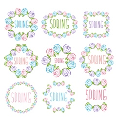 Set of spring labels with flowers and leaves vector