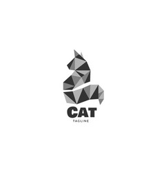 Simple geometric cat logo design template sign vector