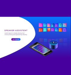 smart speaker assistant for smart home control vector image