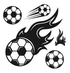 Soccer ball set of various black objects vector