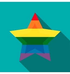 Star in rainbow colors icon flat style vector
