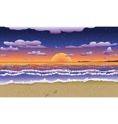 Sunset on tropical beach2 vector image