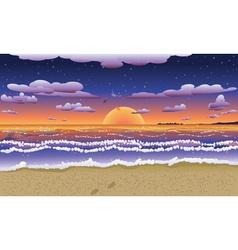 Sunset on tropical beach2 vector