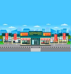 supermarket sale hypermarket in city with skyline vector image