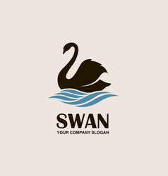 Swan and waves icon vector