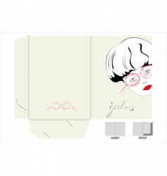 template for folder with girl vector image