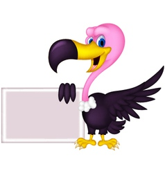 Vulture cartoon with blank sign vector image