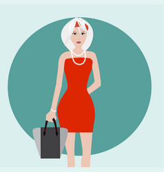 white hair fashion girl vector image