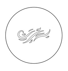 Windy weather icon in outline style isolated on vector