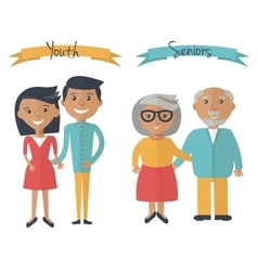Woman and man couple generations Family couple at vector image
