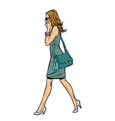 woman in dress talking on the phone vector image