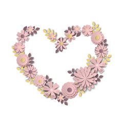 wreath in the form of a heart made of delicate vector image