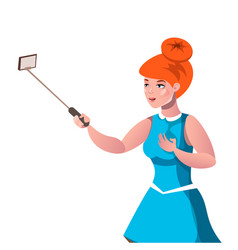 a beautiful girl takes pictures of herself vector image vector image