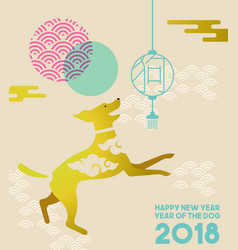chinese new year 2018 gold flat dog greeting card vector image vector image
