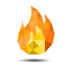 polygon fire icon on white background vector image