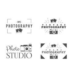 Retro photography badges labels monochrome vector