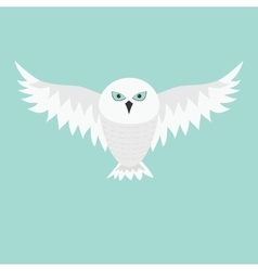 Snowy white owl Flying bird with big wings Blue vector image vector image